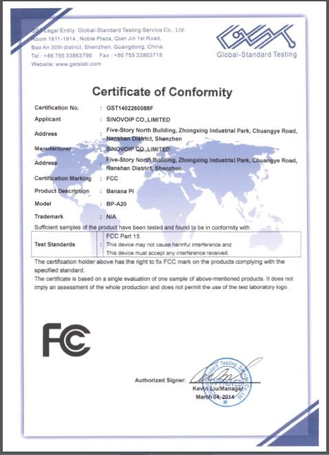 Banana Pi Hardware Cefccrohs Certificate Sinovoip Co Ltd